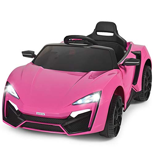 HONEY JOY 12V Kids Ride On Car, Battery Powered Electric Motorized Vehicle w/ Manual & 2.4G Remote Control, Spring Suspension, Double Doors, Music, Lights, Ride On Toys for Toddler Boys Girls (Pink)