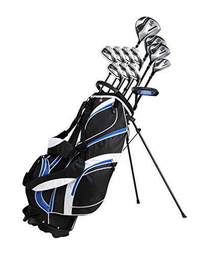 18 Piece Men's Complete Golf Club Package Set With Titanium Driver, #3 & #5 Fairway Woods, #4 Hybrid, 5-SW Irons, Putter, Stand Bag, 4 H/C's (Blue, Tall Size +1')