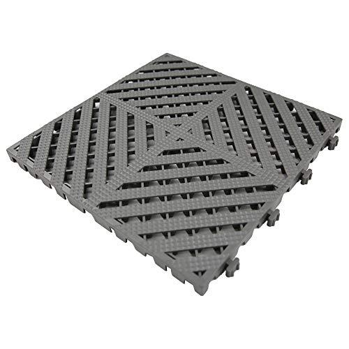 RevTime Modular Interlocking Deck Tile 13'x13'x3/4' Heavy Duty for Garage Flooring, Car Washing Facility, Deck Floor (Pack of 20), Gray