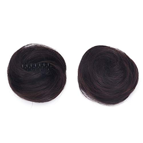 REECHO 2 PCS Mini Claw Clip in Messy & Cat Ears Hair Buns Extensions Wig Accessory Updo Hair Pieces for Women Girl- Dark Brown