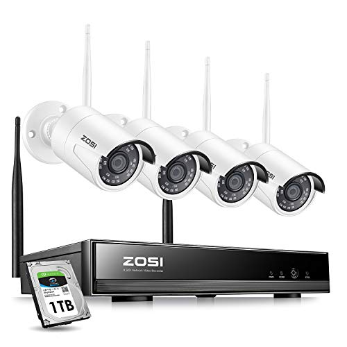 ZOSI Wireless Security Cameras System,H.265+ 8CH 1080P HD Network IP NVR with 1TB Hard Drive and 4pcs 2.0MP 1080P HD Wireless Weatherproof Indoor Outdoor IP Surveillance Cameras with 65ft Night Vision