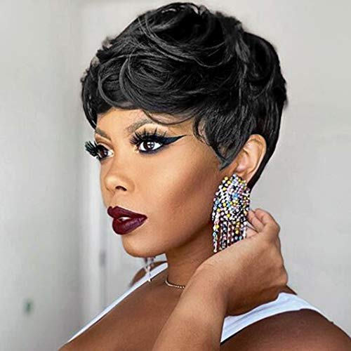 VCK Short Human Hair Wigs for Black Women Curly Pixie Cut Hair Wigs with Bangs Short Black Wigs for Women