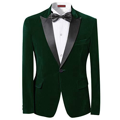 Men's Peaked Lapel 1 Button Dinner Jacket Wedding Blazer Prom Tuxedo Green