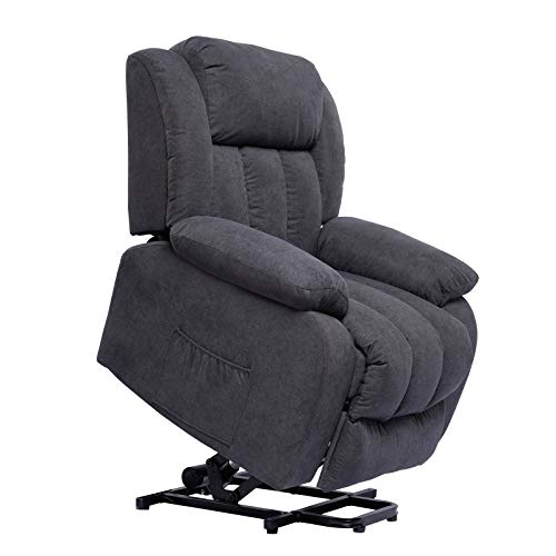 Polar Aurora Lift Massage Recliner Chair for Elderly Heated Fabric Rocker Recliner Ergonomic Lounge Vibratory Massage Function/Heating/Remote Control for Living Room(Grey)