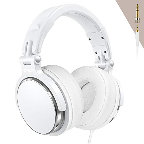 Over-Ear DJ Headphones, Prefessional Studio Monitor Mixing DJ Headset with Stereo Sound for Electric Drum Piano Guitar AMP, 50mm Neodymium Drivers (Silver)