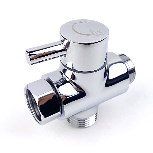 Brass Shower Arm Diverter Valve for Hand Held Showerhead and Fixed Spray Head,G 1/2 3-Way Bathroom Universal Shower System Replacement Part(Polished Chrome)