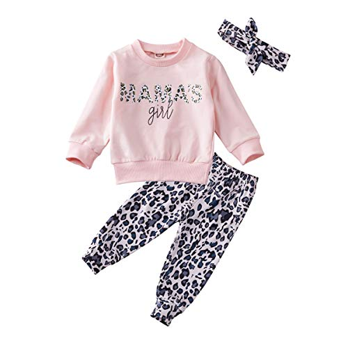 Newborn Baby Girls Long Sleeve Tops Letter Print Sweatshirt Leopard Legging Pant Fall Winter Clothes Set (Mama's Girl, 12-18 Months)