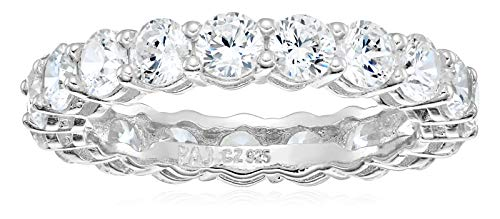 Amazon Essentials Platinum Plated Sterling Silver Round Cut Cubic Zirconia All-Around Band Ring (3.5mm), Size 8