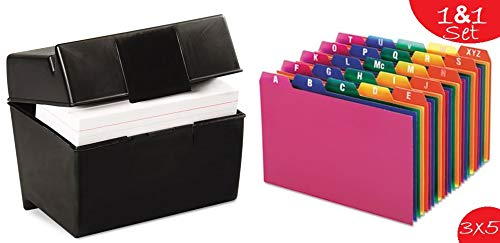 1InTheOffice Index Card Box 3x5 inch, Index Card Holder 3x5 400 Capacity & Index Card Guide Set, A-Z, 1/5 Tab,
