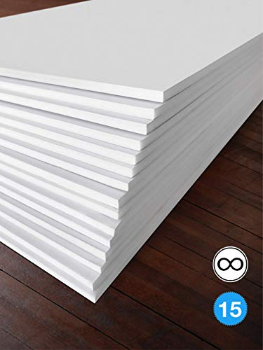 Excelsis Design, Pack of 15, Foam Boards (Acid-Free), 11x14 Inches (Many Sizes Available), 3/16 Inch Thick Mat, White with White Core (Foam Core Backing Boards, Double-Sided Sheets)