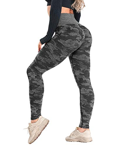 CFR Women High Waist Yoga Pants Butt Lifting Camo Workout Vital Seamless Leggings #0 Black M
