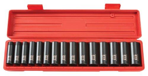 TEKTON 1/2 Inch Drive Deep 6-Point Impact Socket Set, 15-Piece (10-24 mm) | 4883