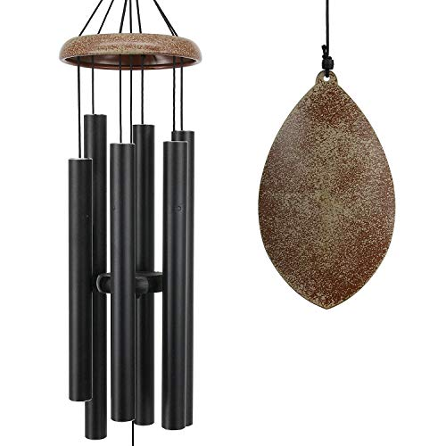 ASTARIN Wind Chimes Outdoor Deep Tone, 35 Inch Wind Chimes, Memorial Wind Chimes as Sympathy Gift, Outdoor Decorations for Your Garden, Patio (Metal Wind Chime-Black)