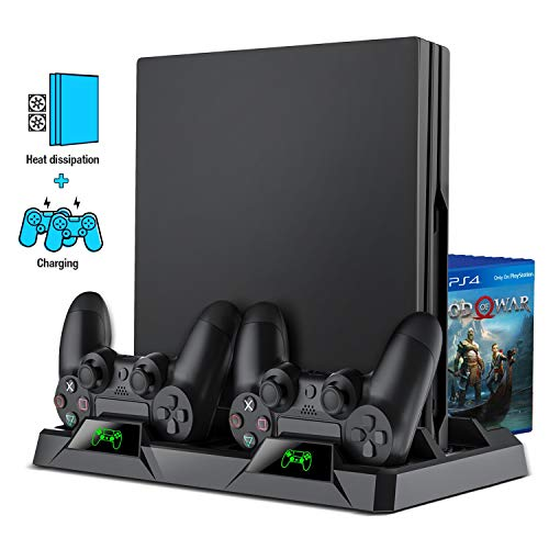 PS4 Stand, PS4 Cooling Stand for PS4/ PS4 Slim/ PS4 Pro Console, PS4 Cooler with Playstation 4 Controller Charger, Playstation 4 Accessories Include 16 PS4 Game Holder and Dual PS4 Controller Charger