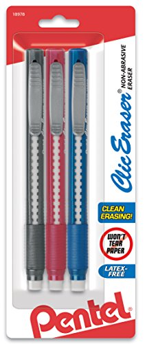 Pentel Clic Retractable Eraser with Grip, 3 Pack