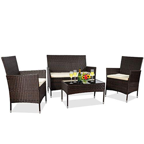 MIERES Patio Furniture Sets 4 Pieces-Sturdy Wicker Outdoor Indoor Conversation Bistro  304 Metal Feet   Bench Seat Two Rattan Chairs One Glass Top Table  for Porch Backyard, Brown