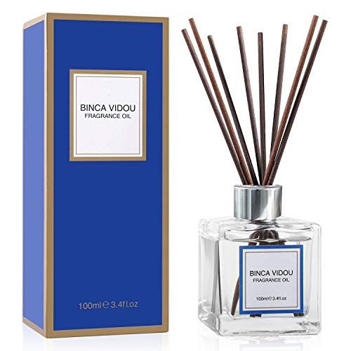 binca vidou Reed Diffuser Set, Bergamot Vanilla Lavender and Jasmine Scented Oil Reed Diffusers for Bedroom Living Room Office Aromatherapy Oil Reed Diffuser for Gift & Stress Relief 100 ml/3.4 oz