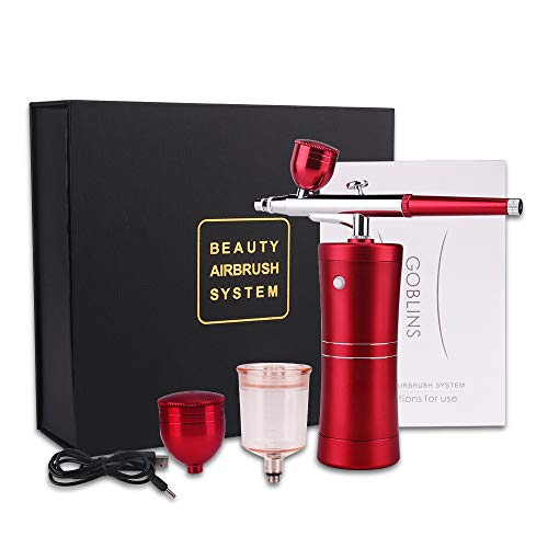 Spray Airbrush Set Facial Makeup Airbrush Oxygen Kit Rechargeable Spray Pen with Adjustable Button for Cake Deraction Coloring Model Nail Art Face SPA Tattoo (2 Kind of Capacity Cups) cenoz