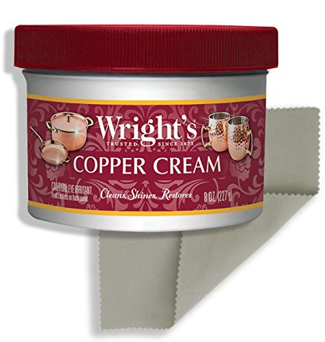 Wright's Copper and Brass Cream Cleaner - 8 Ounce with Polishing Cloth - Gently Cleans and Removes Tarnish without Scratching