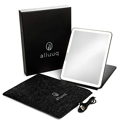 Alluuq, Lighted Travel Makeup Mirror, FELT CARRY BAG, Black, LED Makeup Mirror with Lights, Travel Vanity Mirror, Long Lasting USB Rechargeable Battery, Portable Mirror,Stylish,LED Travel Mirror Fold
