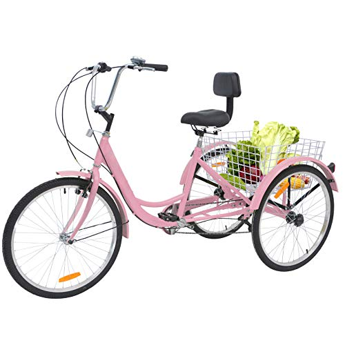Barbella Adult Tricycle, 24-Inch Single and 7 Speed Three-Wheeled Cruise Bike with Large Size Basket for Recreation, Shopping, Exercise Men's Women's Bike (7 Speed Light Pink)