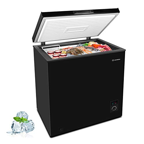MOOSOO Chest Freezer, 5.0 Cubic Feet with Removable Storage Basket Deep Compact Freezer 5 Gears Temperature Control Energy Saving CSA & DOE Certificated, Black