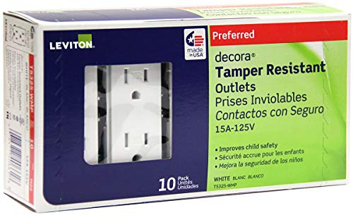 Leviton T5325-WMP 15 Amp 125 Volt, Tamper Resistant, Decora Duplex Receptacle, Straight Blade, Grounding, 10-Pack, White M22-Straight, 125 V, 2 Pole, 3 Wire, 10 pack, 10 Piece