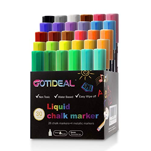GOTIDEAL Liquid Chalk Markers, 30 colors Premium Window Chalkboard Neon Pens, Including 4 Metallic Colors, Painting and Drawing for Kids and Adults, Bistro & Restaurant, Wet Erase - Reversible Tip