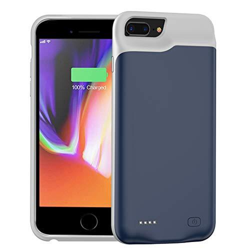Battery Case for iPhone 6 Plus/6s Plus/7 Plus/8 Plus, 6500mAh Portable Protective Charging Case Compatible with iPhone 6s Plus/6 Plus/7 Plus/8 Plus (5.5 inch) Rechargeable Extended Charger Case-Blue