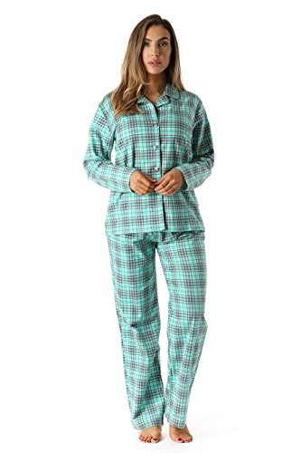 FollowMe 637110230M Printed Flannel Button Front PJ Pant Set, Medium, Jade  Plaid