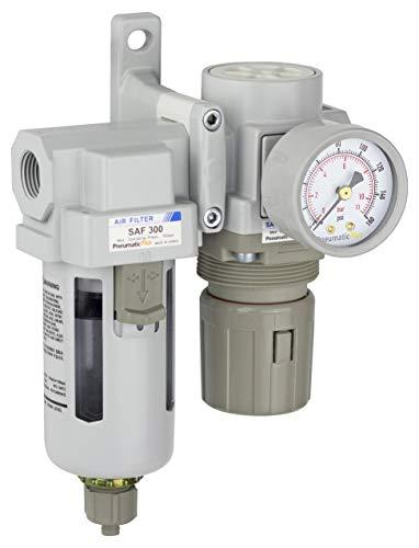 PneumaticPlus SAU320-N03G Compressed Air Filter Regulator Combo 3/8' NPT - Poly Bowl, Manual Drain, Bracket, Gauge