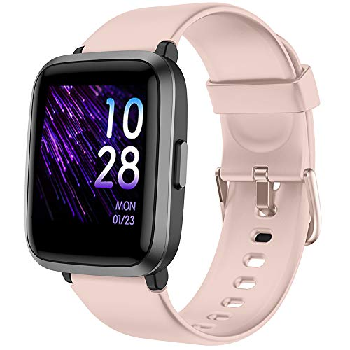 YAMAY Smart Watch 2020 Version, Fitness Tracker Blood Pressure & Blood Oxygen Monitor Heart Rate Monitor Sleep Tracker, Smartwatch Compatible with iPhone Samsung Android Phones, Watch for Men (Pink)