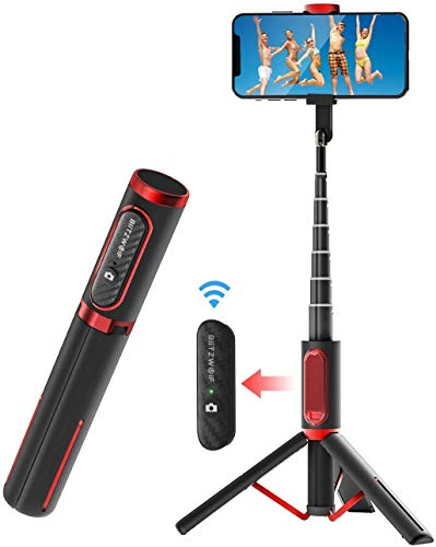 Selfie Stick Tripod, BlitzWolf Lightweight Aluminum All in One Extendable Phone Tripod Selfie Stick Bluetooth with Remote for iPhone 11/Xs MAX/XR/XS/X/8/8 Plus/7/7 Plus/6s, Galaxy S10/S9/S9 Plus, More