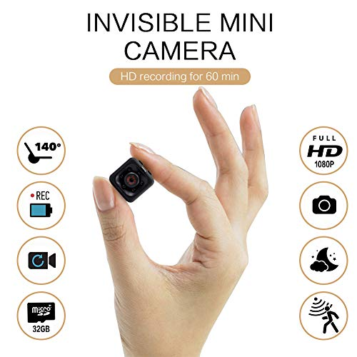 Mini Spy Camera 1080P Hidden Camera | Non-wifi Small HD Nanny Cam with Night Vision and Motion Detection | Perfect Indoor Covert Security Camera for Home and Office | Hidden Spy Cam | Built-in Battery