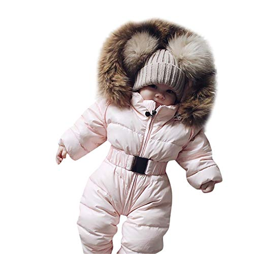Sameno Infant Toddler Baby Girls Boys Winter Down Snowsuits Romper Jacket Hooded Jumpsuit Warm Thick Coat Outfit (3-6 Months, Pink)