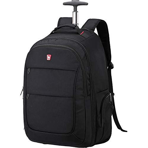 OIWAS Rolling Backpack with Wheels for Men Wheeled Laptop Backpack for Travel School Student College Bookbag Business Carry on Luggage 15.6 Inch Laptop Women 30L Black