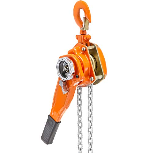 Happybuy 0.75 Ton Chain Hoist 5 FT Lift Lever Block Chain Hoist 1650LBS Chain Ratchet Lever Block Chain Hoist Come Along Lift Puller(0.75 Ton 5ft)