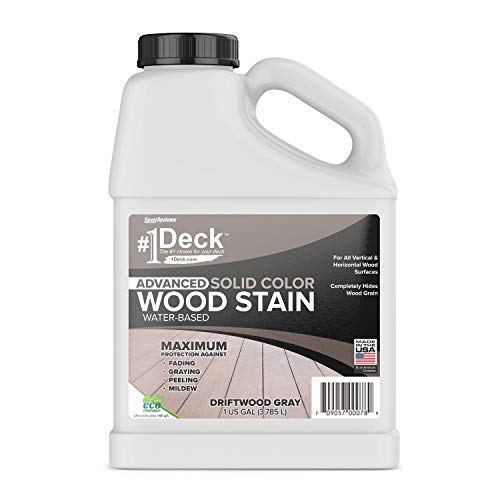 #1 Deck Wood Deck Paint and Sealer - Advanced Solid Color Deck Stain for Decks, Fences, Siding - 1 Gallon (Driftwood Gray)