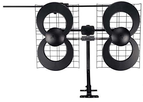 Antennas Direct Clearstream 4V TV Antenna, 70+ Mile Range, UHF/Vhf, Multi-Directional, Indoor, Attic, Outdoor, Mast W/Pivoting Base/Hardware/Adjustable Clamp/Sealing Pads, 4K Ready, Black – C4-V-CJM