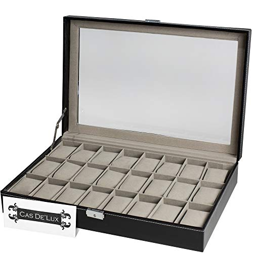 Watch Box Organizer Pillow Case - 24 Slot Luxury Premium Display Cases with Framed Glass Lid Elegant Contrast Stitching Sturdy and Secure Lock for Men and Women Watch and Jewelry Large Holder Boxes