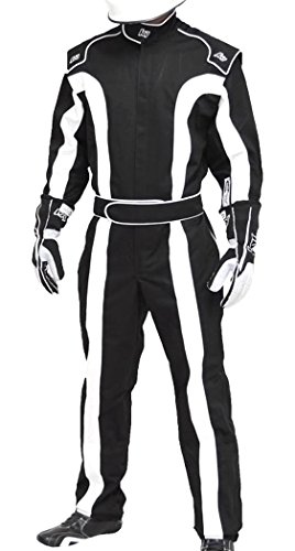 K1 Race Gear Triumph 2, Single Layer SFI-1 Proban Cotton Fire Suit (Black/White, Large) (20-TR2-NW-L)