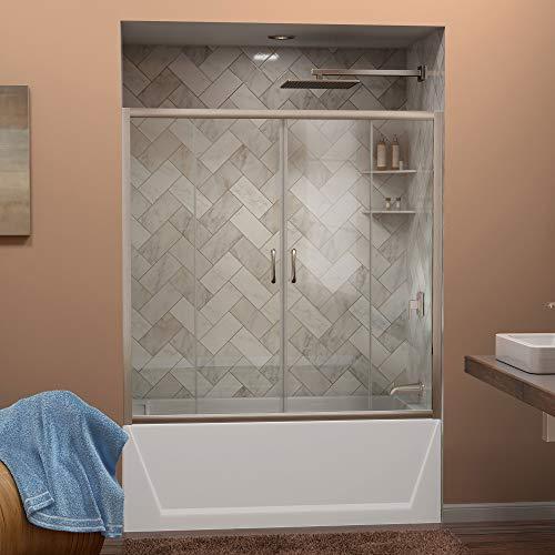 DreamLine Visions 56-60 in. W x 58 in. H Semi-Frameless Sliding Tub Door in Brushed Nickel, SHDR-1160586-04