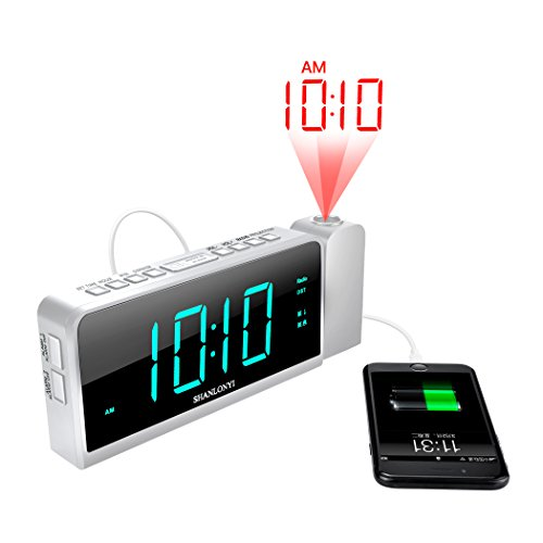 Projection Alarm Clock with AM/FM Radio, 180Projector, 7 LED Digital Ceiling Display, Easy to Use, Clear Cyan Digit, 3 Dimmer, Digital Alarm Clock with USB Phone Charger, Battery Backup for Bedroom