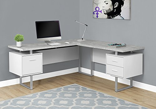 Monarch Specialties Computer Desk Left or Right Facing White / Cement-Look 70'L