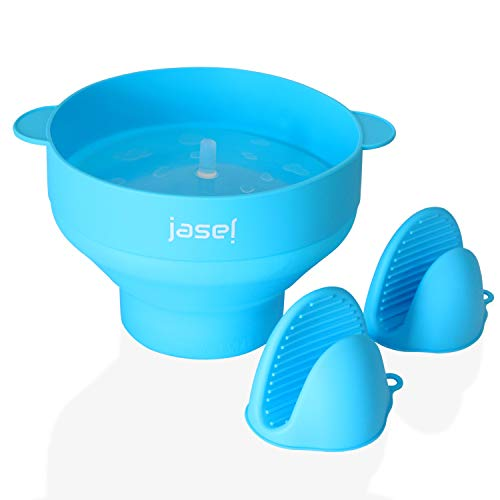 Jasel Microwaveable Popcorn Popper Hot Air Popcorn Maker with Handles and Lid, Food Grade Silicone Collapsible Bowl Comes with Bonus Heat-Resistant Pinch Mitts (Blue)