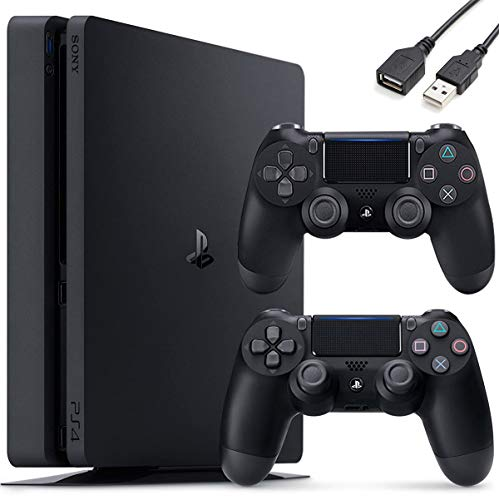 Sony PlayStation 4 PS4 1TB Slim Gaming Console - Extra Controller Holiday Bundle + Delca USB Extension