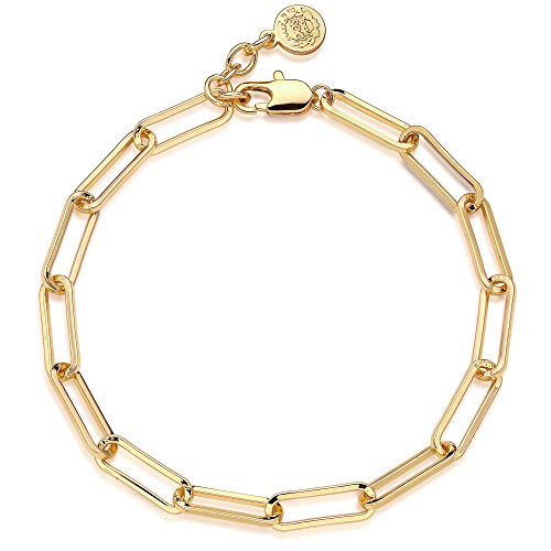 Mevecco Dainty Oval Paper Clip Link Chain Bracelet Dainty Gold Chunky Radial Chain Rolo Paperclip Link Bracelet 18K Gold Plated Delicate Wide Chain Bracelet Women Personalized Gift