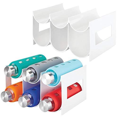 mDesign Plastic Free-Standing Water Bottle and Wine Rack Storage Organizer for Kitchen Countertops, Pantry, Fridge - 2 Pack, Holds 6 Bottles each - White