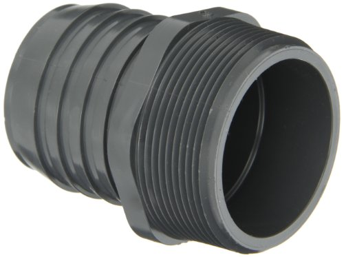 Spears 1436 Series PVC Tube Fitting, Adapter, Schedule 40, Gray, 2' Barbed x NPT Male