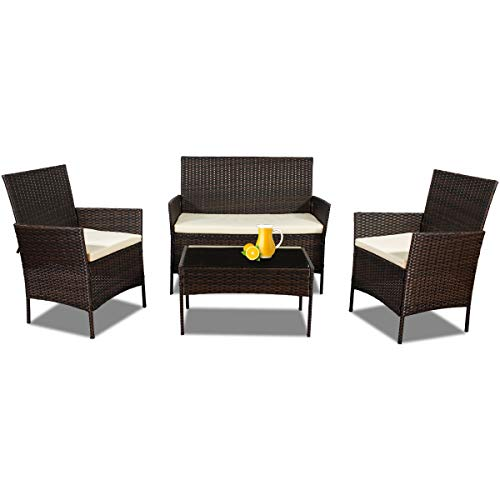 Four Patio Furniture Sets of Outdoor, 4 Piece Wicker Chairs and Table with Cushion for Indoor Bistro Porch Yard Balcony Dining, Brown Rattan Deck Set Square Lawn Dinette (Brown)